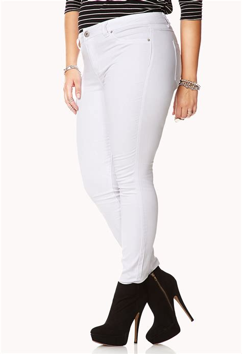 Forever 21 Colored Stretchy Skinny Jeans in White - Lyst